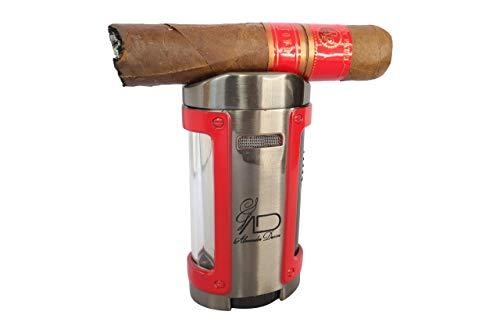 AD Cigar Lighter Quad Flame, Angled Four Jet Flame Butane Lighter, Flame Adjusting Refillable Desktop Cigar Lighter, Cigar Stand, Oversized Fuel Window, Red