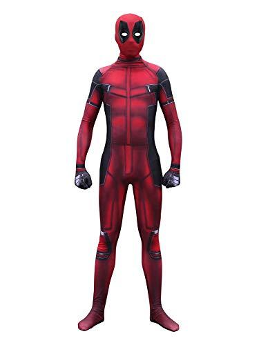 CXYGZLJ Adultos Nios Deadpool Cosplay Disfraz, Rendimiento de Escenario Vestido de Disfraces Traje Spandex/Lycra Traje, Deluxe Digital, Large,Kids XL