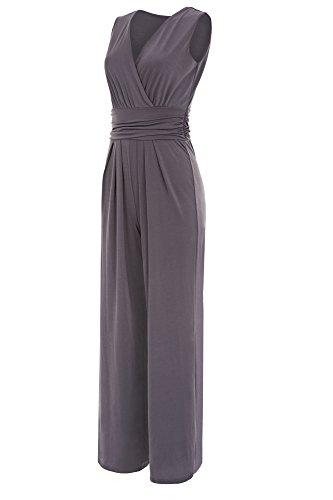 Laeticia Dreams Eleganter Damen Overall Jumpsuit V Ausschnitt S M L XL, Farbe:Grau, Größe:42 XL