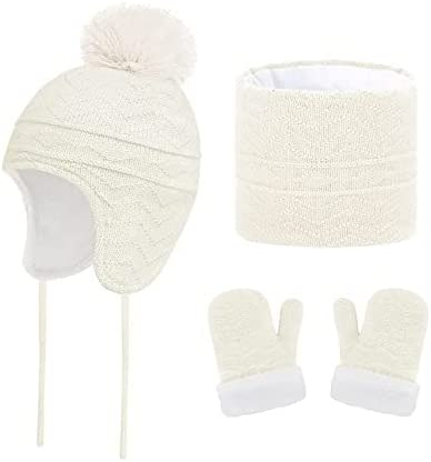 Safety and trust Ranking TOP4 Children's Hats Scarves and Gloves Winter B Set Pom-pom 3-Piece