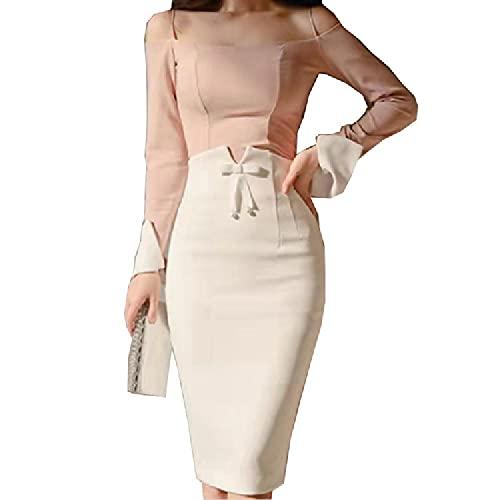 Falda Midi de Cintura Alta para Mujer Primavera Verano Oficina Coreana Elegante Espalda Dividida Sexy Falda lápiz Blanca ceñida al Cuerpo