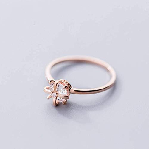 S925 zilveren ring Women'S Japanse en Koreaanse Stijl Mode Diamant Kroon Ring Temperament Persoonlijkheid Trend Index Vinger Ring Vrouw, S925 zilveren Ring, Verenigde Staten 6, EEH 7 Rosegoud