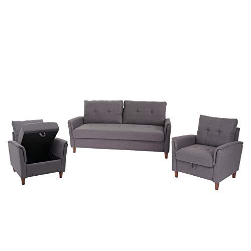 Mendler 3-1-1 Couchgarnitur HWC-H23, 3er Sofa Sofagarnitur Loungesessel Relaxsessel, Gastronomie Staufach - Stoff/Textil, grau