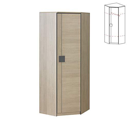 Furniture24 Eckkleiderschrank Gumi G7 Eckschrank mit Kleiderstange und 2 Einlegeboden, 1 Türiger Drehtürenschrank für Jugendzimmer (Santana Eiche/Achgrau)
