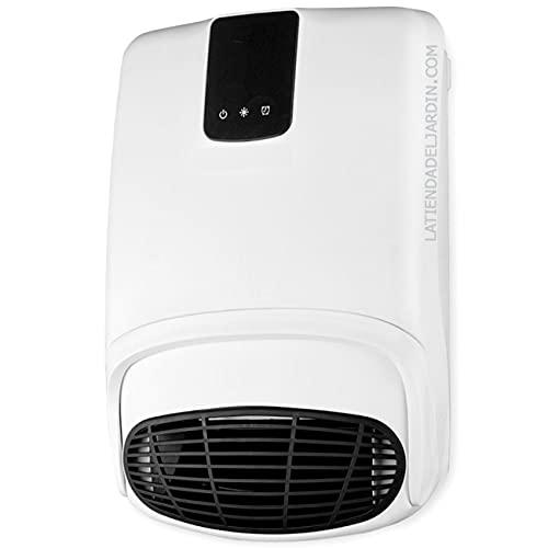 Suinga Calefactor de pared especial para baño. Dos niveles de calor (1000 y 2000 W). Modo ventilador. Programable: diario y semanal. Accesorio incluido para colgar toallas.