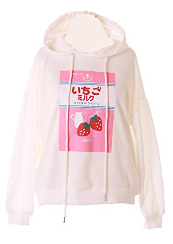 TS-212-1 Weiß Erdbeer Strawberry Milk Pastel Lolita Pullover Sweatshirt Kawaii