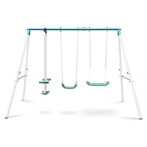 Oneconcept Olav Blue Edition - Columpio de jardín Infantil, Uso Exterior, 4 niños de 3 a 8 años, Peso soportado 120 kg, Balancín Asiento y reposapiés, Estructura Acero, Asientos plástico, Azul
