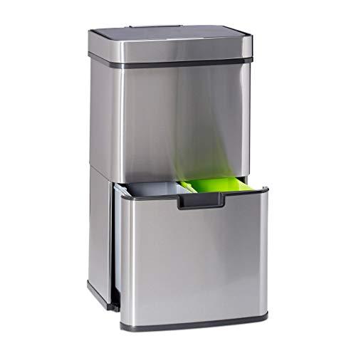 Relaxdays Mülltrennsystem 3 fach, mit Bewegungssensor, 60 L, ausziehbar, Edelstahl, HBT: 74,5 x 42 x 31,5 cm, silber