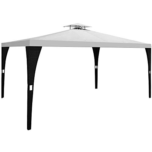 Deuba Poly Rattan 3x4m Garden Gazebo Party BBQ Marquee Canopy Tent Cream Black Pavilion Sun Shade Shelter