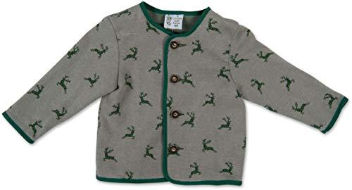 Trachten Jacke mit Hirschen Grau Grün Gr. 62-92 Baby Buben Kinder Weste