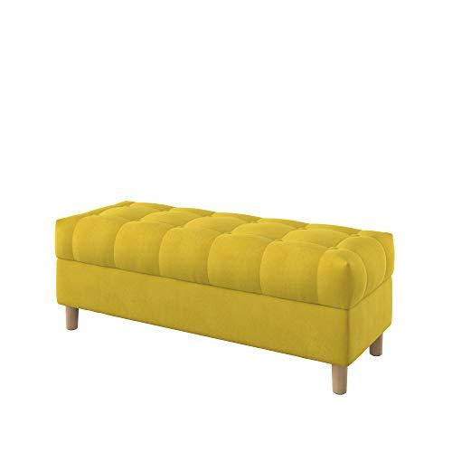 Furninero - 120 cm de Ancho, Banco de Almacenamiento Tipo otomano tapizado capitoné con Botones, Patas Redondeadas, Majestic Velvet Yellow Tela, Amarillo