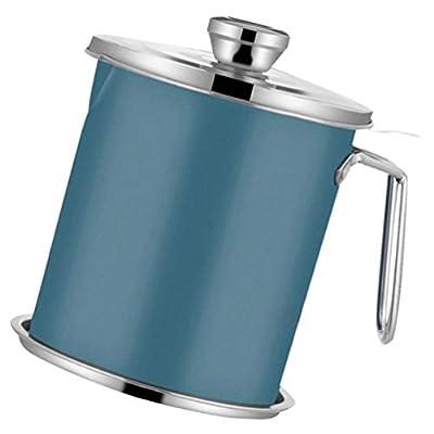 Cabilock Filtre à Huile Pot de Graisse Peut 1. 3L de Stockage D'huile en Acier Inoxydable Peut Conteneur avec Tamis à Mailles Fines Couvercle Anti-Poussière pour Cuisine
