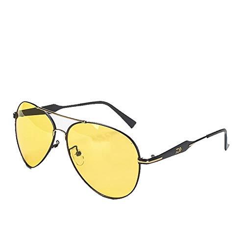 Hancoc Amarillo Negro Pesca Gafas Polarizador Hombre HD Visión Nocturna Al Aire Libre Aumentó Claro Polarizado Gafas De Pesca Gafas De Sol (Color : Yellow)