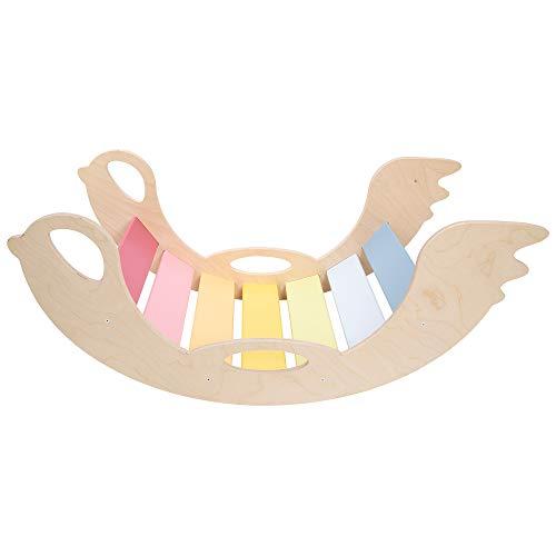 Bunte Bogenwippe aus Holz - handgefertigter Kletterbogen für Babys und Kinder, Pikler