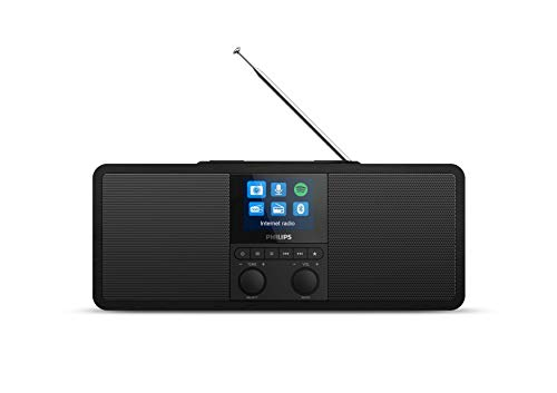 Philips Radio via Internet R8805/10 DAB+ con Spotify Connect (Bluetooth, Allarme Doppio, Timer per Spegnimento Automatico, Base di Ricarica Wireless Qi per Cellulari, USB) Nero - Modello 2020/2021