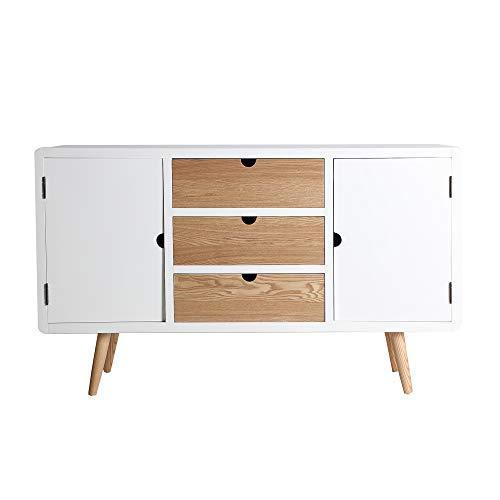 Lastdeco Buffet Aparador. Mueble Auxiliar Almacenaje. Color Blanco Natural. Estilo Nordico. Comedor Salon Recibidor. Diseño y Calidad. Coleccion Klek. 75 x 40 x 125 cm