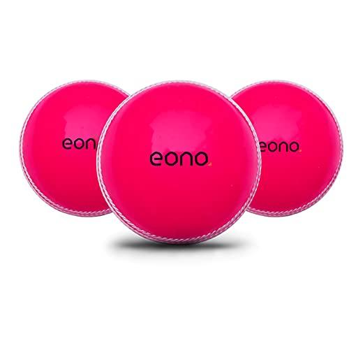 Amazon-Marke - Eono Soft & Durable Pink Cricket Ball - 3er Pack PVC Maschinengenähter Indoor & Outdoor Ball, echter Bounce Cricket Trainingsball für Kinder, Jungen und Erwachsene-72 mm Durchmesser