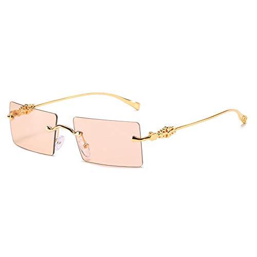 Sonnenbrille Metall Rechteck Sonnenbrille Frauen Randlos Quadrat Rot Grün Linse Uv400 Auge Sonnenbrille Shades Für Damen-C6