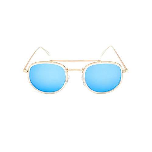 XUANTAO Tendencia de Moda: Gafas de Sol de Estilo Europeo y Americano, Gafas de Sol Retro clásicas, Gafas de Sol polarizadas de Doble círculo Interior y Exterior, Marco Dorado, película Azul