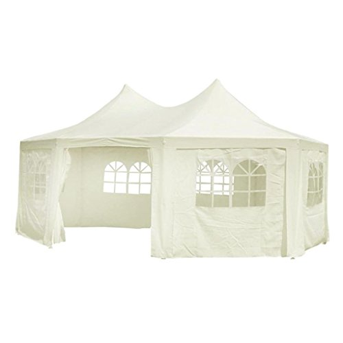 vidaXL Tente de Réception Blanc Crème 6x4,4x3,5 m Châpiteau Tonnelle Jardin