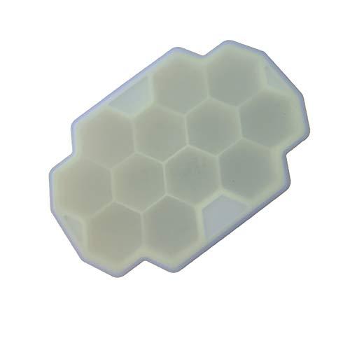 Vi.yo Food Grade Silikon Hexagon EIS Würfel Trays mit Deckel 12-Fach Eiswürfelform Eiswürfelbehälter so DASS Werkzeug für Küche 1 Stück 135mm×90mm×25mm Gelb