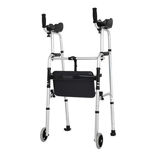 Caminantes para personas mayores Marco para caminar ayuda Mobility Rollator Walker Carrito de compras Cochecito Portátil Scooter Armés Ligero con asiento, 4 ruedas para personas mayores 41.7-47.6 Roll