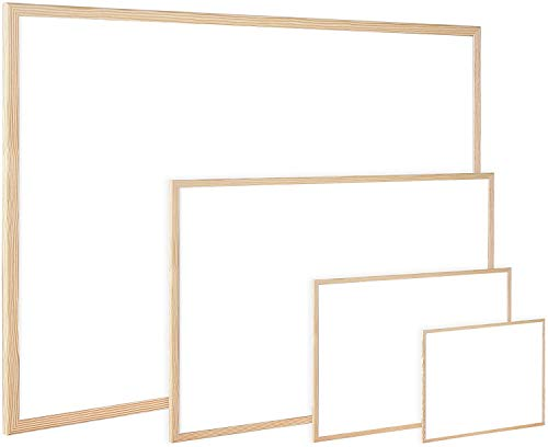 Pizarra Blanca de Pared con borde de madera para Rotuladores. Pizarra para pintar o apuntar, fácil de limpiar. Varios tamaños. Incluye 2 argollas para colgarlo (50x70cm)