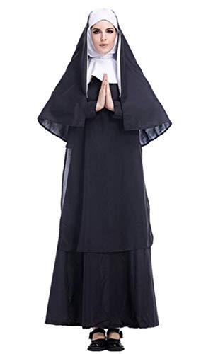 Emin Disfraz de monja para mujer, vestido y sombrero, disfraz de monja para cosplay, Halloween, fiesta, Carnaval, vestido de noche para adultos Negro M