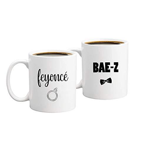 BAE-Z, Feyonce - Juego de tazas de café divertidas para parejas, 325 ml, regalo de boda único para novia y novio, regalo de aniversario para él y para ella, marido y mujer