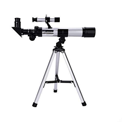 Bewinner Telescopio portátil para niños Principiantes Adultos, 60 mm Apertura 40 mm Diámetro Objetivo F40400 Niños Telescopio astronómico Refractor Kit de trípode portátil Juguete para niños
