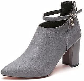 GLL&xuezi Mujer Botas Zapatos formales Ante Otoño Vestido Fiesta y Noche Paseo Hebilla Tacón Robusto Negro Gris claro Wine 5 - 7 cms