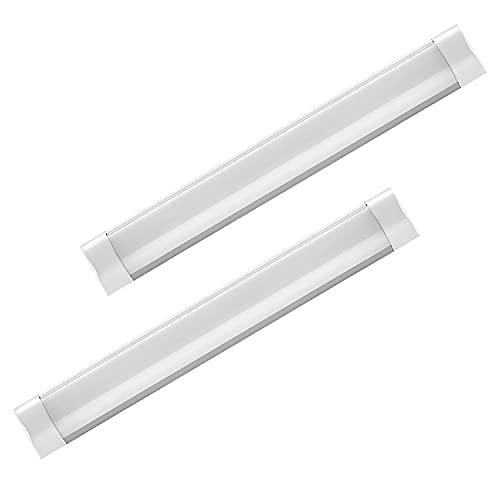 NanYaWei 2 Stück Led Leuchtstoffrohr 60CM Feuchtraumleuchte 20W Led Röhre Leuchte 6500K Flimmerfreie LED Deckenlampe Flache Leuchtstoffröhre Röhre für Garage Lager Keller Küche Werkstatt Warenhaus
