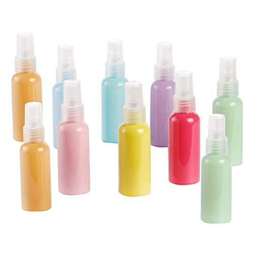LUOEM 10 Piezas 50 Ml Botellas de Spray Vacías Envases de Plástico Recargables Botellas de Tamaño de Viaje para Lociones de Champú Jabón Líquido para El Cuerpo (Color Mixto)