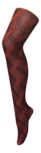 sock snob - Damen &urchsichtig Gemustert farbig Winter 80 den Strumpfhose größe 36-42 eur (36-42 eur, Cable Rot)