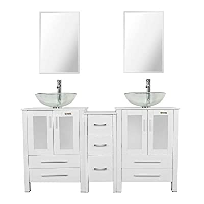 """eclife 60"""" Bathroom Vanity Sink Combo White W/Side Cabinet Vanity Clear Round Tempered Glass Vessel Sink & 1.5 GPM Water Save Chrome Faucet & Solid Brass Pop Up Drain,W/Mirror (A16 2B02W)"""
