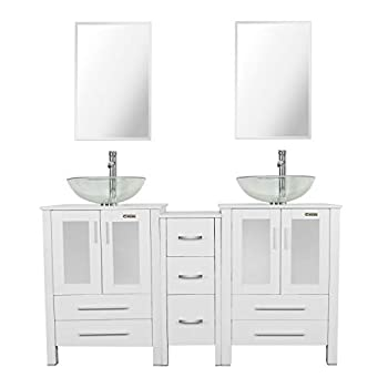 """eclife 60"""" Bathroom Vanity Sink Combo White W/Side Cabinet Vanity Clear Round Tempered Glass Vessel Sink & 1.5 GPM Water Save Chrome Faucet & Solid Brass Pop Up Drain,W/Mirror  A16 2B02W"""