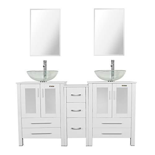 Bathroom Vanity Sink Combo White W/Side Cabinet