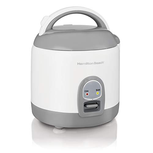 Hamilton Beach Mini Rice Cooker & Food Steamer, 8 Cups Cooked (4 Uncooked), With Steam & Rinse Basket, White (37508) Image