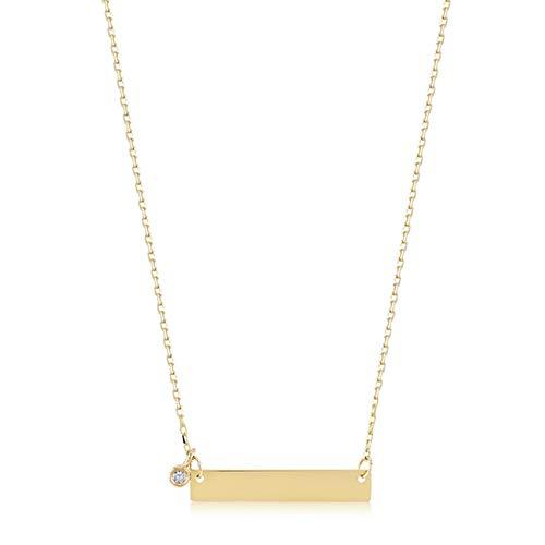 Gelin Diamond Collar con Colgante de Barra de Diamante de 0,01 Quilates de Oro Amarillo de 14 Quilates para Mujer, 45,7 cm, joyería Fina de Regalo para cumpleaños y Aniversario