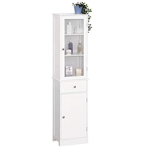 kleankin Badezimmerschrank, Badschrank, Vitrine, Küchenschrank mit Schublade, Regale, MDF, Acryl, 40 x 27 x 171,5 cm, Weiß