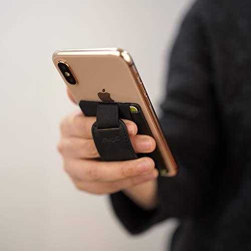 Premium Leder Smartphone Kartenhalter Kartenfach RFID Blocker Ständer Halterung Handy Wallet Kartenetui Handyhülle smart Handyständer Griff Damen o Herren (schwarz)