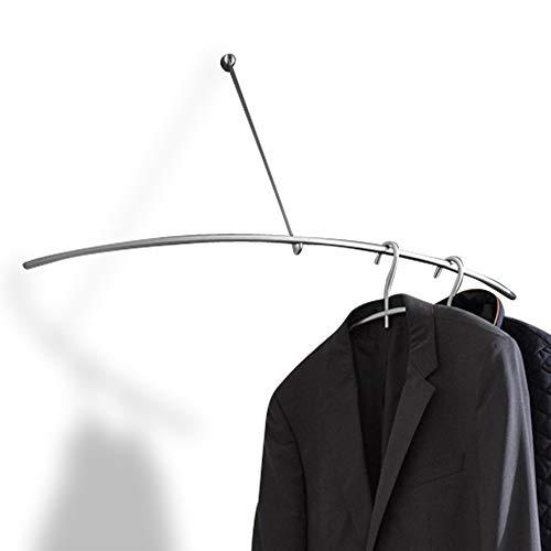 PHOS Edelstahl Design, G500VW, Eck-Wandgarderobe, hochwertig, geschliffen, verdeckte Montage, ideal für Flur, Diele, Bad, Praxis Wartezimmer, Eckgarderobe, Garderobe, Kleiderstange, Flurgarderobe