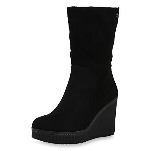 SCARPE VITA Damen Stiefel Keilstiefel Gefütterte Keilabsatz Schuhe Plateau Boots High Heels Wildleder-Optik Wedges 187506 Schwarz 41