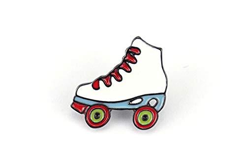 Naehgedoens.de Pin Rollschuh   Roller Skates   Weiß Hellblau Rot   Brosche   Anstecknadel   Anstecker