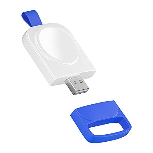 Cargador USB Base de Carga Magnética para Apple Watch 6 5 4 3 2 1 SE, Cargador Portátil Inalámbrico Carga para iWatch 44mm 42mm 40mm 38mm, USB de Doble Cara (White)