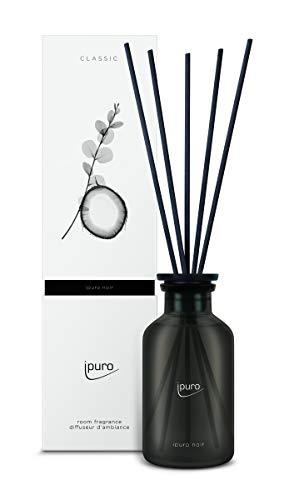 ipuro Classic noir Raumduft - Raumduft mit orientalischer Wirkung - Lufterfrischer mit hochwertigen Inhaltsstoffen 240 ml - aus Glas mit Rattanstäbchen