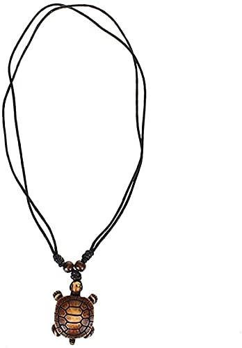 WYDSFWL Estilos de Collar Étnico Tribal F Yak Hueso Tortuga Marina Colgante Collar Resina Ajustable Lucky Black String Collar Macramé Longevidad Regalo