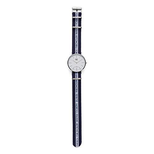 FCA dameshorloge Fiat wijzerplaat wit metalen behuizing en armband van nylon blauw en wit verstelbaar origineel 6002350595