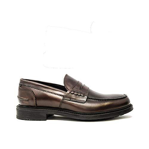 Saxone Of Scotland Sunday Loafer Dark Brown Leather Rubber Sole/Dark Brown / 43