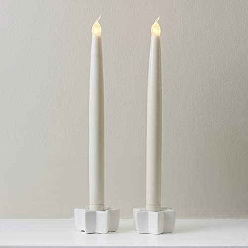 Set of 2 Ivory Real Wax Battery Operated LED Taper Candles by Lights4fun